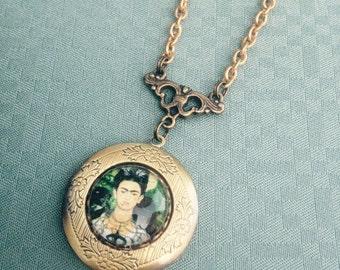 "Frida Kahlo Picture Locket Necklace - Brass Locket Necklace - 28""-32"" Solid Brass Chain -  Frida Art - Frida Kahlo Necklace - Frida Kahlo"