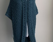 Large Hand Knit Soft Chunky Cotton Prayer Meditation Comfort Shawl Wrap, Blue Grey, Vegan, Ready to Ship, FREE SHIPPING