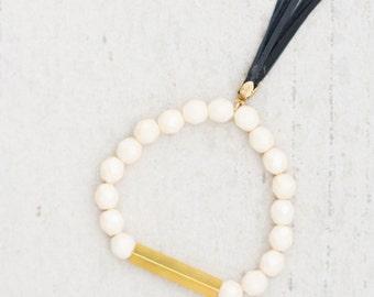 Soft White  Beaded Bar Bracelet, Off White tassel bracelet, Stretchy tassel Bracelet