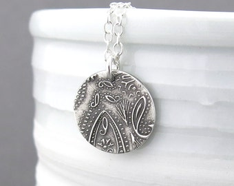 Paisley Necklace Tiny Silver Necklace Pendant Sterling Silver Charm Necklace Bohemian Jewelry Holiday Gift for Her - Unique Petite