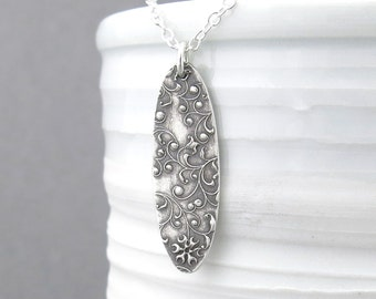 Silver Pendant Necklace Long Silver Necklace Floral Jewelry Bohemian Jewelry Rustic Necklace Mother's Day Gift for Her Under 50 - Elena