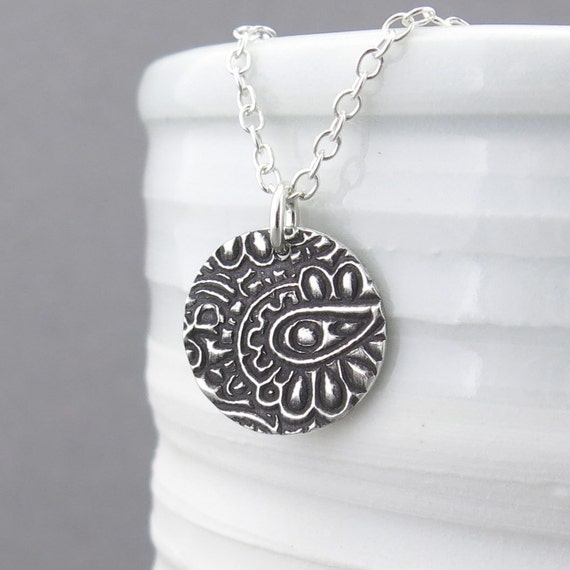 Paisley Necklace Layer Necklace Silver Necklace Pendant Sterling Silver Jewelry Bohemian Jewelry Rustic Holiday Gift for Her - Unique Petite