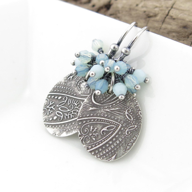 Aqua Earrings Simple Silver Earrings Beaded by JenniferCasady