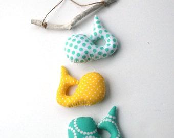 Whale Mobile, Nautical Nursery Decor, Baby Mobile, Nautical Wall Art