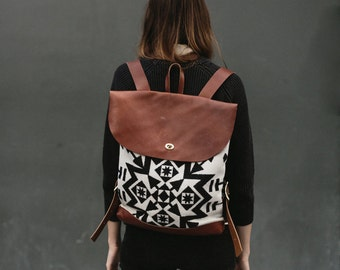 Black and White Condensed Wool Backpack