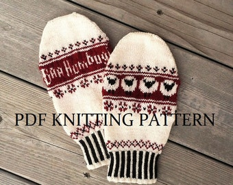 PDF Knitting Pattern - Baa Humbug Mittens