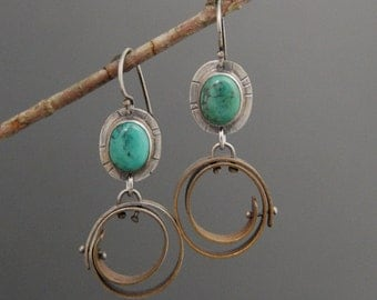 Pinned Circle earrings with Turquoise