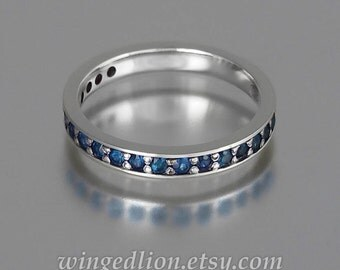 LAUREL silver wedding band with London Blue Topazes