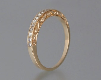 THE ENCHANTED Wedding Band 14k rose gold & white sapphires