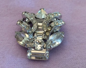 Eisenberg Crystal and Rhinestone Brooch-FREE SHIPPING-SALE