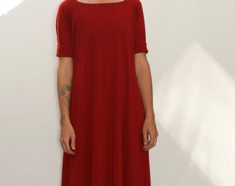 Red Merino Wool Dress with Cuffed Raglan Sleeves