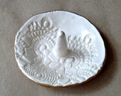 Small OFF WHITE  Lace Ceramic Ring Holder Bowl edged in gold