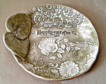 Ceramic Wedding Bowl Happily Ever After Wedding Gift Engagement  Sage greenGift