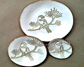 Ceramic Bird Nesting Dishes Set of three edged in gold OFF WHITE