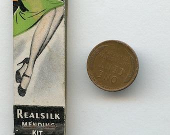 Real Silk Stocking Mending Kit Sewing Matchbook 1940s Advertising 2285