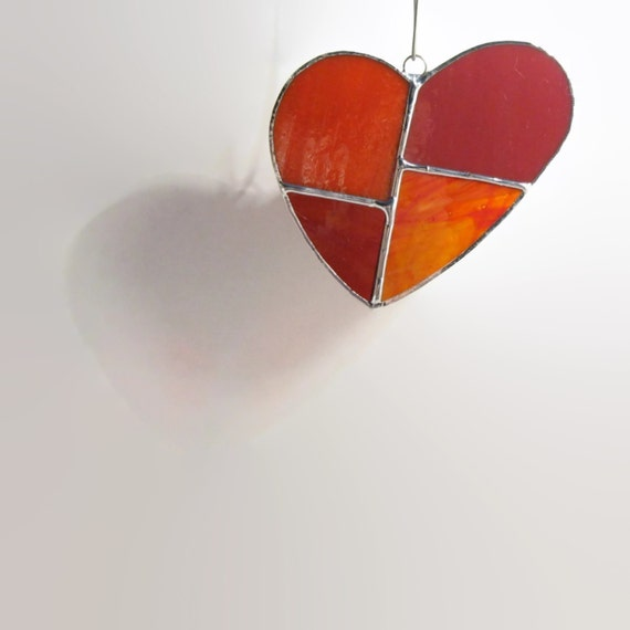 Red Glass Heart, Love Heart, Stained Glass, Glass Heart, Heart Ornament, Cute Hearts, Valentines Day Decor, Heart Gifts, Red Heart