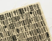 Totem - Black - Hand Screenprinted Fabric - Summersville - 9.5 x 14 inches - Destash
