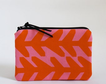 MINI zip pouch - ARROWS in Pink and Orange
