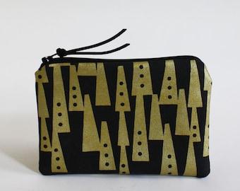 TOTEM - mini zipper pouch in black and metallic gold