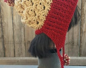 Cranberry Red and Tan Slouchy Beanie with Cabled Brim and Pompoms