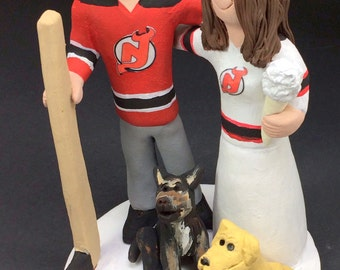 New Jersey Devils Bride and Groom Hockey Wedding Cake Topper - Custom Made Hockey Bride Wedding Cake Topper, NHL Wedding Cake Topper