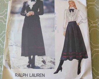Vintage 80s Vogue 1065 Ralph Lauren Jacket Skirt and Blouse Sewing Pattern size 10