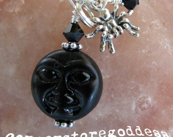 Full Moon Spider Halloween Charm Zipper Pull EHAG