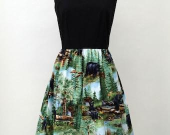 Black bear print dress, woodland tea dress rockabilly Size Small - Medium