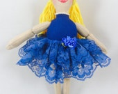 Ballerina Doll in Blue Tutu - Handmade Toy Doll - Ballerina Art Doll