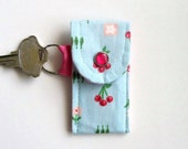 Lip Balm Holder, Lip Balm Keyring, Cherries on Teal, Purse Accessory, Backpack Accessory