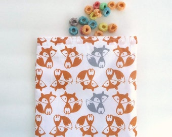 Reusable Sandwich Bag, Snack Bag, Red Fox, Gray Fox, Kid's Lunch Bag
