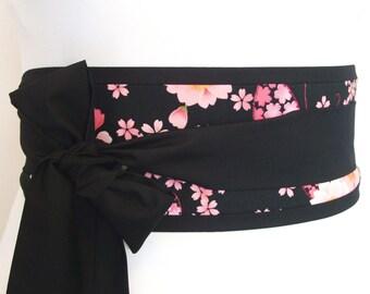 Obi belt Japanese blossom... Japan yukata kimono robe sash  ... makes a great sash for all shapes including baby bumps ... maternity sash