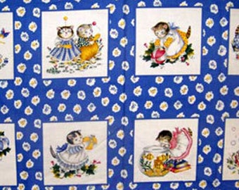 KITTY CUCUMBER Cat Fabric - RARE Retired In The Beginning Kitty Cats Quilting Blocks Panel