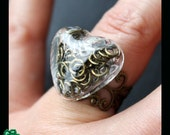 Hollow glass dome ring: jumprings in small Heart hollow