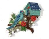 1930s Bluebird & Birdhouse on a Branch Enamel Brooch / Vintage Figural Enameled Pot Metal Whimsical Bird Pin