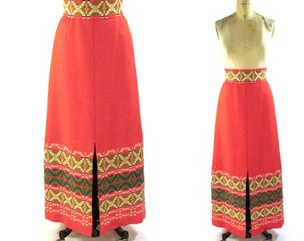 1960s Handwoven Skirt / Vintage Madawaska Weavers Maxi Skirt with Matching Belt / Bohemian Hippie / Canadian Women Weavers
