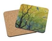 Coasters Mix & Match - First Snow - tree season birds autumn nature watercolor painting Oladesign