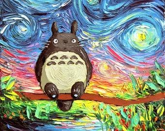 my neighbor totoro art starry night giclee print van gogh never met his neighbor by