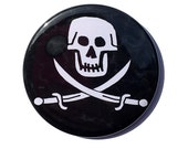 Skull and Crossbones Pin, Fridge Magnet, Pocket Mirror, Keychain or Bookmark - pirate party favor black white Halloween pinback button badge
