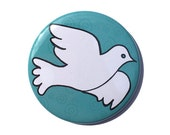Dove Magnet, Pin, Pocket Mirror, Keychain or Bookmark - peace, bird fridge magnet, pinback button, badge, party favor, blue and white