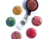ID badge reel or lanyard with 6 inspirational funny sayings, interchangeable retractable alligator, belt clip, badge holder, fun, quotes