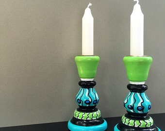 Blue and Green Candlesticks - Whimsical Handpainted Wooden Candle Holders - Wood Candlesticks - Wedding Gift, Dining Room Table Decor
