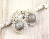 RESERVED - Eagle Eye Stone and Moonstone Wrapped Silver Earrings