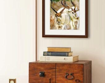 watercolor animals | watercolor painting | Wildlife Artwork  | Judaica | landscape art, animal art, animal artwork, animal paintings PRINT