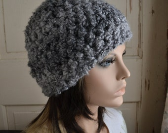 Warm Winter Hat in Crochet Gray Boucle Ladies Hat