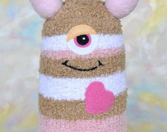 Handmade Sock Monster Doll, Plush Stuffed Art Toy, Hug Me Monster, Personalized Tag, Tan, Pink, White Striped 10 inch, Ready-made