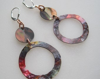 Of Circles, Sterling Silver, Copper Earrings