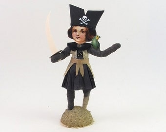 Spun Cotton Vintage Style Pirate Girl Figure