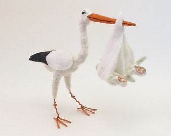 Vintage Inspired Spun Cotton Stork Carrying Twins Figure/Ornament