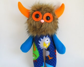 Orange Blue Toy Stuffed Animal Monster Doll Plush Toy Handmade Toys Boy Gifts Girls Toys Gifts for Nephew Gift for Niece Colorful Toy